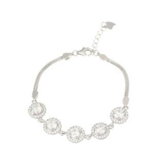 Bracelet chaine en argent et oxydes de zirconium Ronde Eclatante