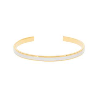 Bracelet jonc ouvert CORFOU Émail blanc finition dorée