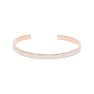 Bracelet jonc ouvert CORFOU Émail blanc finition rosée