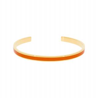 Bracelet jonc ouvert CORFOU Émail orange finition dorée