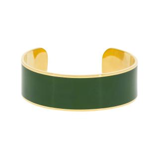 Bracelet manchette OSLO Émail vert finition dorée