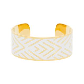 Bracelet manchette MEXICO Émail blanc finition dorée