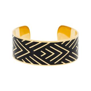 Bracelet manchette MEXICO Émail noir finition dorée
