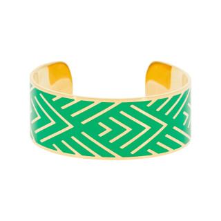 Bracelet manchette MEXICO Émail vert finition dorée