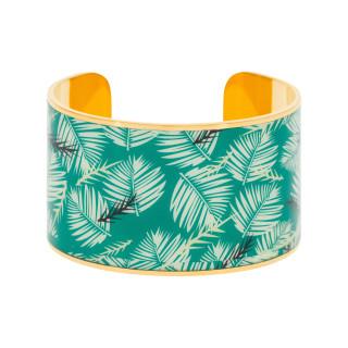 Bracelet manchette BOMBAY Émail mullticolore vert finition dorée
