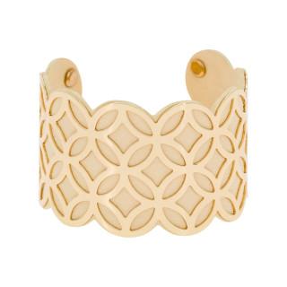 Bracelet manchette DUBAI finition dorée simili cuir beige