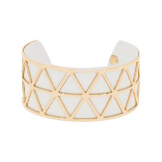 Bracelet manchette STOCKHOLM finition dorée simili cuir blanc