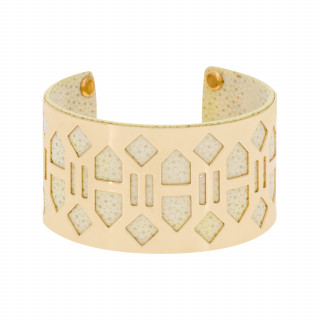 Bracelet manchette BANJUL finition dorée simili cuir beige