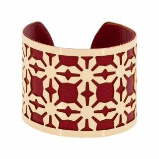 Bracelet manchette REYKIAVIK finition dorée simili cuir rouge