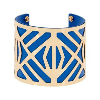 Bracelet manchette CANNES finition dorée simili cuir bleu