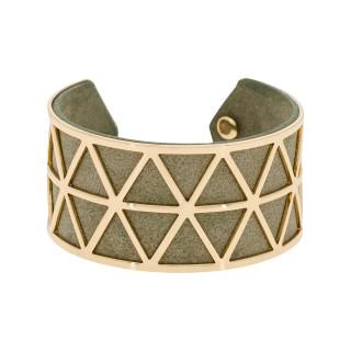 Bracelet manchette STOCKHOLM finition dorée simili cuir gris