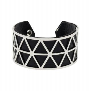 Bracelet manchette STOCKHOLM finition argentée simili cuir noir