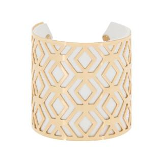Bracelet manchette BANGALORE finition dorée simili cuir blanc