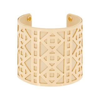 Bracelet manchette PHUKET finition dorée simili cuir beige