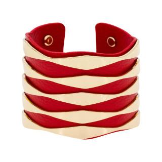 Bracelet manchette ZADAR finition dorée simili cuir rouge