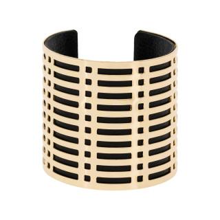 Bracelet manchette COLOMBO finition dorée simili cuir noir
