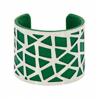 Bracelet manchette PEKIN finition argentée simili cuir vert