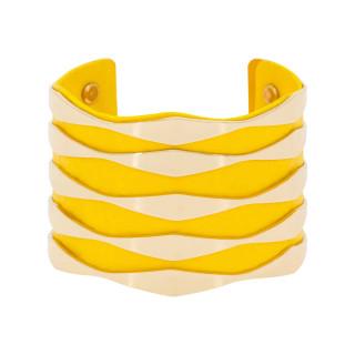 Bracelet manchette ZADAR finition dorée simili cuir jaune