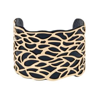 Bracelet manchette NAZARETH finition dorée simili cuir bleu