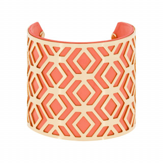 Bracelet manchette BANGALORE finition dorée simili cuir rose