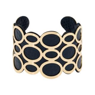 Bracelet manchette PIANA finition dorée simili cuir noir