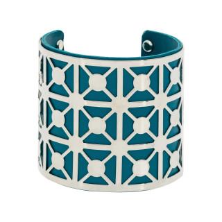Bracelet manchette CAYENNE finition argentée simili cuir bleu