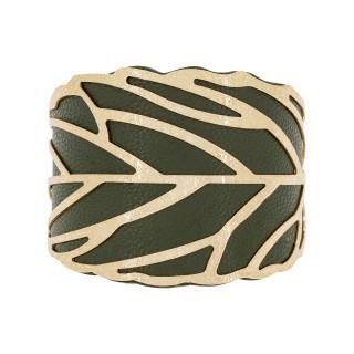 Bracelet manchette FUNCHAL finition dorée simili cuir vert