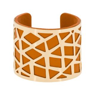 Bracelet manchette PEKIN finition dorée simili cuir orange