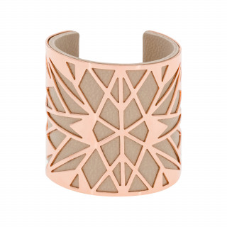 Bracelet manchette TAIPA finition rosée simili cuir beige