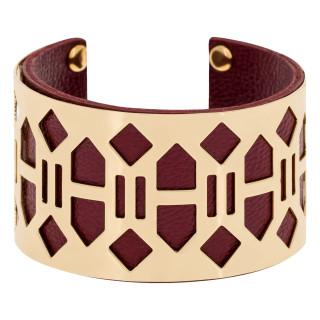 Bracelet manchette  BANJUL finition dorée simili cuir bordeaux