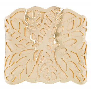 Bracelet manchette ZANZIBAR finition dorée simili cuir beige