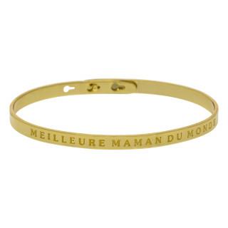 MEILLEURE MAMAN DU MONDE bracelet jonc doré à message