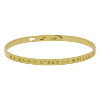 MA MAMIE C'EST LA MEILLEURE bracelet jonc doré à message