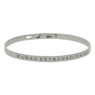 MAMAN EXTRAORDINAIRE bracelet jonc argenté à message