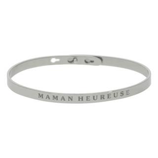 MAMAN HEUREUSE bracelet jonc argenté à message