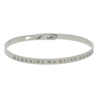 MARRAINE MA REINE ADORÉE bracelet jonc argenté à message