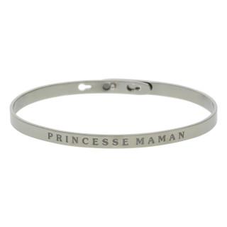 PRINCESSE MAMAN bracelet jonc argenté à message