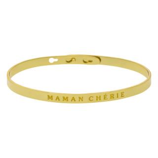 MAMAN CHÉRIE bracelet jonc doré à message