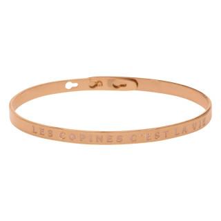 LES COPINES C'EST LA VIE Jonc rosé bracelet à message