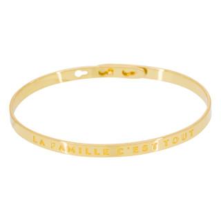LA FAMILLE C'EST TOUT bracelet jonc doré à message