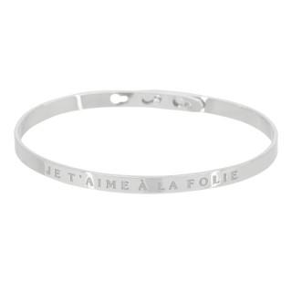 JE T'AIME À LA FOLIE bracelet jonc argenté à message