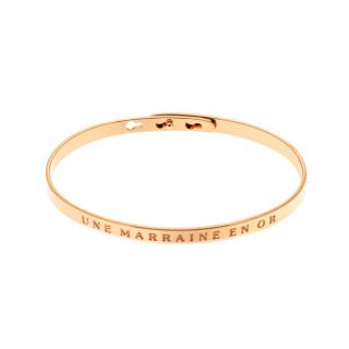 UNE MARRAINE EN OR Jonc rosé bracelet à message