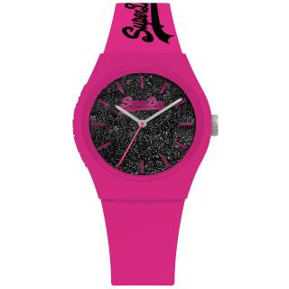 Montre femme Superdry URBAN GLITTER SYL001BP Cadran Noir et bracelet rose