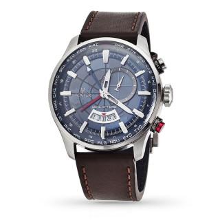 Montre Homme Foxter Avalone bracelet cuir marron, boitier acier et fond bleu - FR6040C4BC2