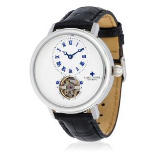Montre Louis Cottier STORYMATIC Automatique 43 mm Blanc boitier argenté - bracelet noir - HB34330C2BC1