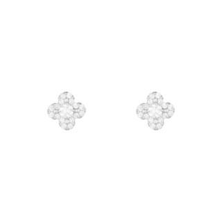 Boucles d'oreilles Or Blanc 375 et Oxyde de Zirconium Magnificence