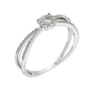 Bague Or Blanc 375 CROISÉE DES CHEMINS Diamants 0,27 carat