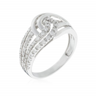 Bague Or Blanc 375 DUO DE BOUCLES Diamants 0,25 carat