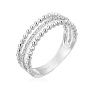 Bague Or Blanc 375 BUBBLE TRILOGY Diamants 0,09 carat