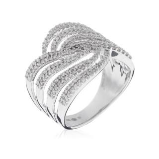 Bague Or Blanc 375 ETINCELANT Diamants 0,74 carat